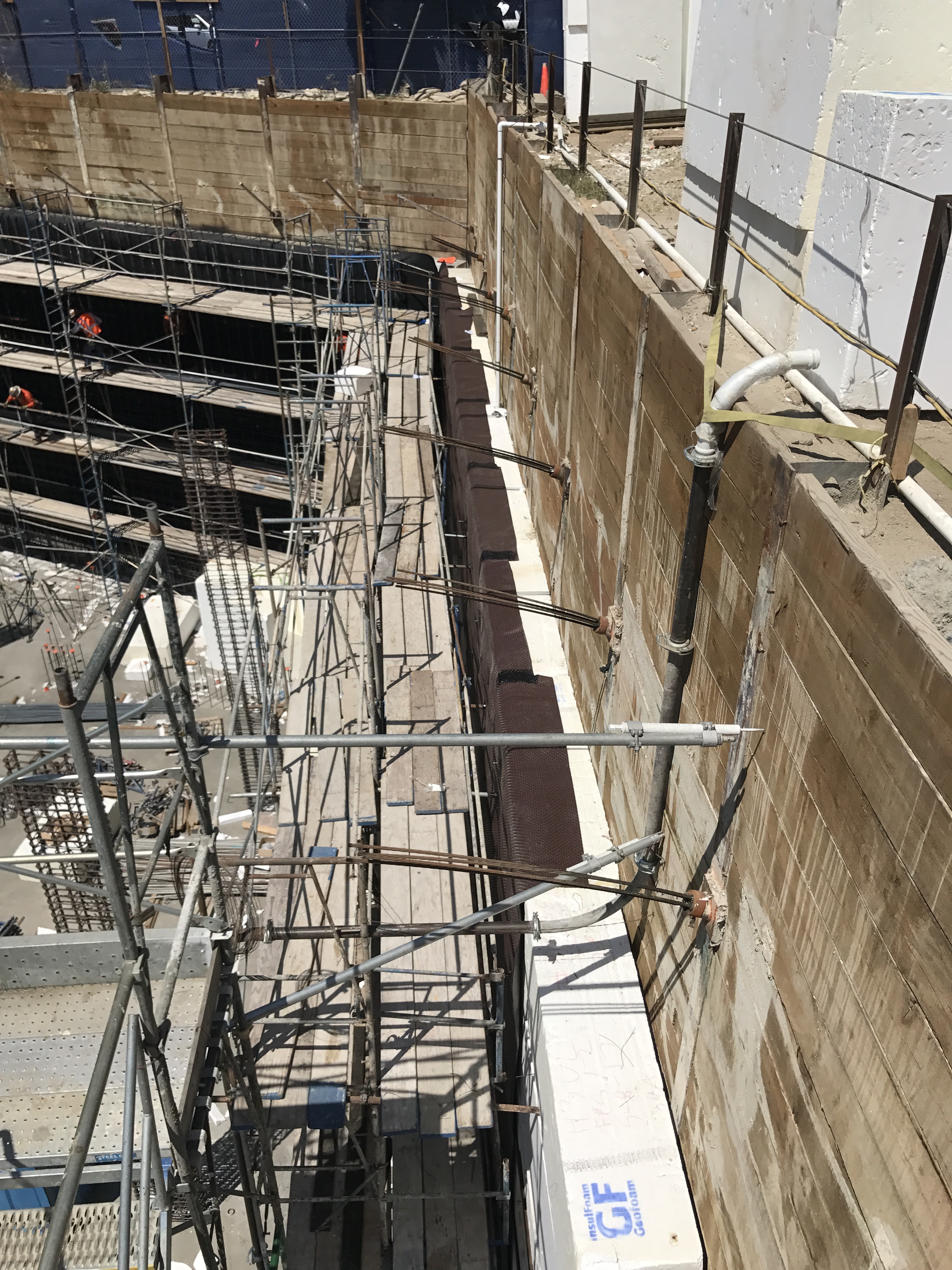 Complex building environment for EPRO waterproofing system.